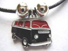 Black & red enamel camper van shaped pendant black cord surf style necklace