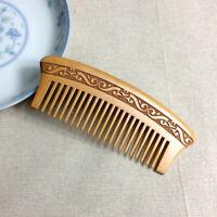 Eg _ Doppio Lato Intaglio Naturale Legno di Pesco Pettine Antistatico Hair