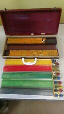 Terriffic Antique Butterscotch Catalin  Bakelite Mahjong Mah Jongg Set In Case