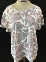 Croft Barrow classic tee T top Size 2XL short sleeve pink green paisley knit
