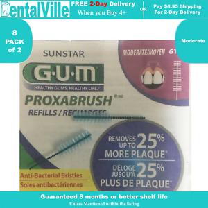 GUM Go-Betweens Proxabrush Refills Moderate ( 8 Pack of 2 pcs)