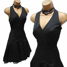 KAREN MILLEN Black Cotton Lace 50s Marilyn Monroe Style Halterneck Dress 10 UK