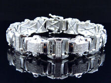 Mens Genuine Diamond 3D Pave Style Bracelet In White Gold Finish 15mm (4.5Ct)