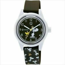 Q&Q SmileSolar Rp01-809 Wrist Watch Snoopy Woodstock 10atm Urethane Belt Brown