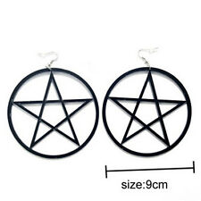 9cm Punk Large Pentagram Earrings Large Hoop Pentacle Gothic Ear Stud Fashion