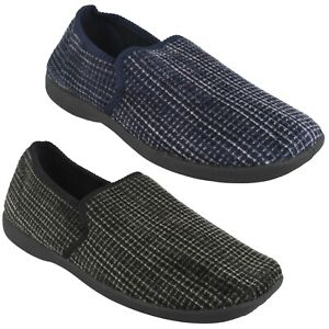 X2R034 SPOT ON MENS SLIP ON WARM COAY LOUNGE INDOOR HOUSE CHEQUERED SLIPPERS
