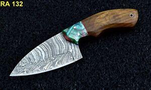 """8"""" New Arrivel Custom Handmade Damascus Steel Hunting Skinner Knife Wood & Resin"""