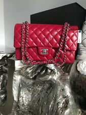NWT CHANEL 2018 18B Dark Pink Caviar Medium Classic Double Flap Bag 17B RED NEW