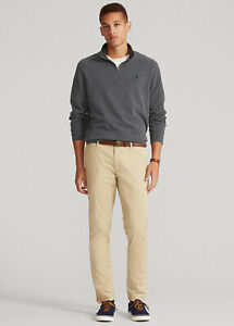 Polo Ralph Lauren Luxury Jersey Quarter-Zip Pullover Dark Grey Heather-Size 2XL