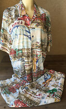 Jams World Pant Set Blouse Top Capris Outfit Santa Monica Pier L 2 Pc California