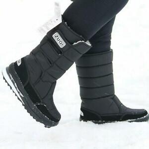 Men Snow Boots Waterproof Nylon Plus Mid Calf Boots Plush Warm Shoes Winter UK