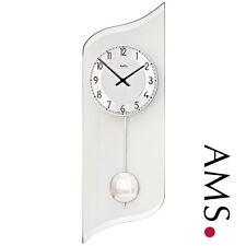AMS 46 Wall Clock Quartz Watch Pendulum Living Room Glass Work 087