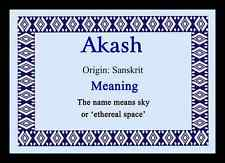 Akash Personalised Name Meaning Placemat