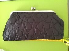 BLACK QUILTED STYLISH HANDBAG COCKTAIL EVENING CLUTCH Frame Clasp BAG Big purse