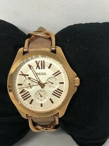 Fossil Cecile AM4624 Women's Brown Leather Analog Dial Genuine Wrist Watch HG64