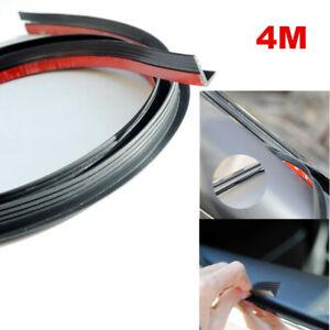 Black V Shape 4M Car Door Window Seal Strip Anti-Dust Wind Noise Rubber Kit