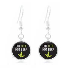 Vegetarian Quote glass Frea Earrings Art Photo Tibet silver Earring Jewelry #273
