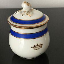 Pot A Crème Couronne Marquis XIXè Porcelaine Paris Noblesse N°2 Nobility Pot
