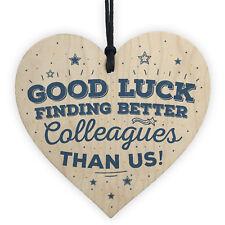 Good Luck Colleague Leaving Work Job Gift Friendship Wood Heart Sign Thank You