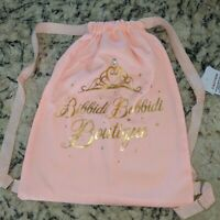 Disney Park Bibbidi Bobbidi Boutique Rose Pink Gold Cloth String Cinch Bag New