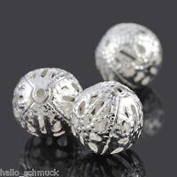 HS 50 Versilbert Filigran Ball Perlen Beads 12mm