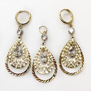 14k Yellow Gold CZ Pear Shape Drop Dangling Set of Earrings & Pendant Womens
