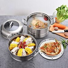 New Stainless Steel 3Tier Steamer Cooker Steampot Kitchen Food Cooking&Glass lid