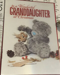 """Granddaughter 3D Holographic Me To You Christmas Card Tatty Bear 9"""" X 6"""" Xmas"""