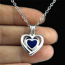 """K-96 Silver Pearl Cage Multilayer Heart Locket Necklace Stainless Rolo Chain 18"""""""