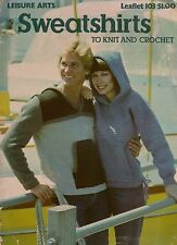 Leisure Arts 103 Sweatshirts Knitting Crochet Patterns Hood Pocket 1977