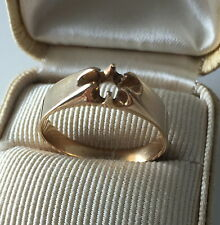 Vintage Art Deco 14K Yellow Gold Ring Mounting Solitaire, Size 9.75, 3.8g