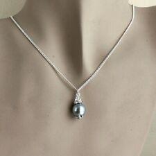 Light grey vintage pearl silver chain wedding bridesmaid bridal pendant necklace