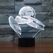 Modern Decor Lamp Planetary Spacecraft 7 Colors Change 3D Illusion Night Lamp