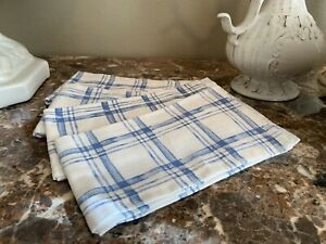 Set of (4) Pier 1 ~ Henry Easter Spring Blue Plaid Napkins Cotton New multi Avai