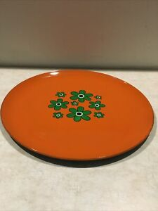 Vintage Mod Floral Round Serving Tray 1960s or 70s