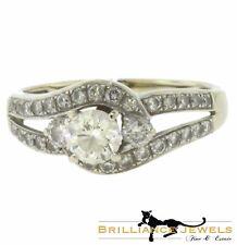 Gorgeous Diamond Swirl Halo White Gold Engagement Ring, 1.27 TCW