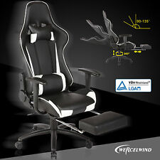 Office Gaming Chair Racing Seats Computer Chair Executive Footrest Rocker White
