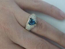 H.Stern 18K 1.81 TCW Heart Blue Topaz & Pave Diamond Ring,1.0 CT Center