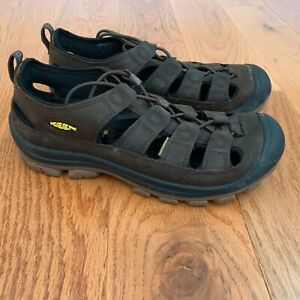 Mens Keen Hiking Shoes  Size 9 Brown Leather Waterproof Sandal 13046