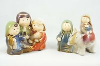 2 Nativity Scene Figurines Porcelain Ceramic Baby Jesus Mary Joseph Holders 4""
