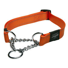 Rogz Dog Collar Obedience Half Check Utility Fanbelt - Large 13-22in - Orange