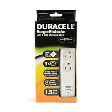 Duracell White 3 Outlet Surge Protector w Swivel Safety Covers & 2 USB Charging