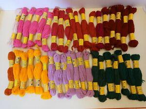 39 skeins DMC needlepoint tapestry crewel wool yarn 3 ply new vintage