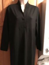 Eileen Fisher- 100% Wool Dress, S, Empire, One Button V. Neck, Back Slit