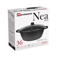 Non Stick Die Cast Deep Casserole Oven Dish Stockpot Soup Pot Pan Glass Lid 36cm