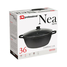 Non Stick Die Cast Deep Casserole Oven Dish Stockpot Soup Pot Pan Glass Lid 36cm