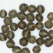 Glass Beads Gray Transparent Fluted Round 9mm. Pack of 30. Made in India.
