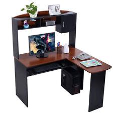 Large Corner Office Desk Computer Table Black Walnut Study Work Station Desktop