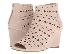 MICHAEL KORS women's UMA WEDGE Open Toe Ankle Booties Wedge Heel Suede Beige 8 M