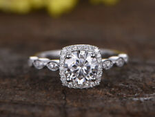 1.24 Ct Stylish Diamond Engagement Ring Real 14K White Gold Round Rings Size L M
